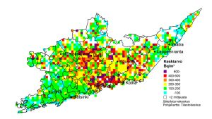 Radon-pitoisuuksien kartta Itä-Uudeltamaalta