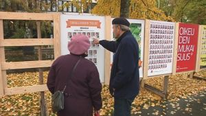 Elderly couple looking at election posters