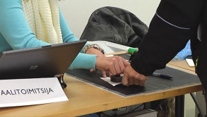 Voting in the municipal election.