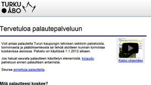 Turun kaupungin sähköinen palautepalvelu.