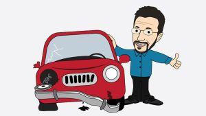 Mies esittelee autoa -piirustus.