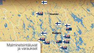 Grafiikka Pohjois-Savossa tehdyistä malminetsintäluvista ja varauksista.
