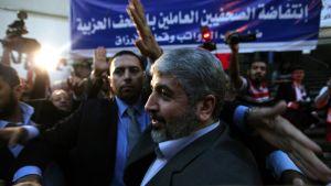 Hamasin johtaja Khaled Mashaal Kairossa, Egyptissä, 19. lokakuuta.