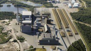 Havainnekuva Ajokseen suunnitellusta biodiesellaitoksesta