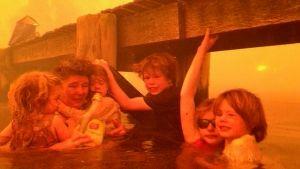 Perhe vedessä laiturin alla