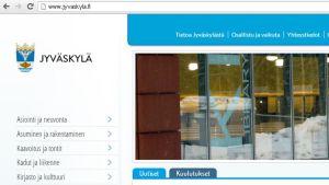 Kuvakaappaus Jyväskylän verkkoetusivulta
