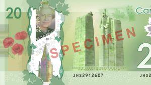 Kuva Kanadan 20 dollarin setelistä.
