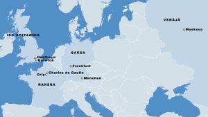 Lentokenttiä Euroopan kartalla.