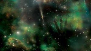 Taiteilijan näkemys gammasäderäjähdyksestä.