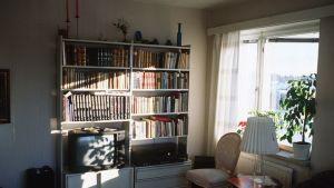 Auringonvaloa olohuoneessa.