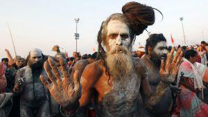 Pyhät miehet kokoontuvat hindujen Kumbh Mela -juhlaan Allahabadissa.