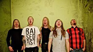 yhtyeen jäsenet huutavat suu auki