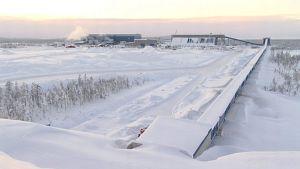 Northlandin Kaunisvaaran rautamalmikaivos Ruotsin Pajalassa helmikuussa 2013.