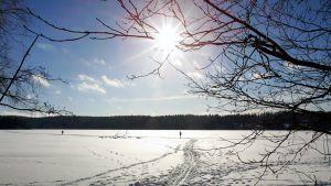 Aurinko paistaa järveen jään yllä.