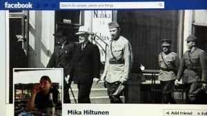 Osa perussuomalaisten kunnanvaltuutetun Mika Hiltusen Facebook-sivua, kuvattu Helsingissä 22. helmikuuta 2013. Kontiolahtelainen valtuutettu Hiltunen saa syytteen kiihottamisesta kansanryhmää vastaan. Syyte koskee tammikuussa Facebook-sivustolla julkaistua kirjoitusta. Se käsitteli maahanmuuttajia ja pakolaisia.