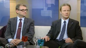 Keskustan puheenjohtaja Juha Sipilä ja perussuomalaisten puheenjohtajistoon kuuluva Juho Eerola.
