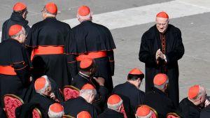 Italialainen kardinaali Tarcisio Bertone tervehtii muita kardinaaleja Vatikaanissa.