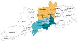 Metropoli-raportin neljän kunnan mallin kartta.