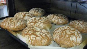 Paula Hirvosen paistamia kauniita ruisleipiä tulossa uunista