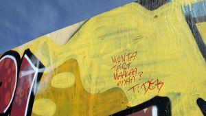Tämän vuoden puolella tussitettu teksti vetoaa graffitintekijöihin, jotta Lapinaukealle saataisiin tuoreita teoksia.