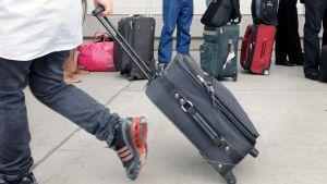 Matkustaja vetää lentolaukkua perässään lentokentällä.