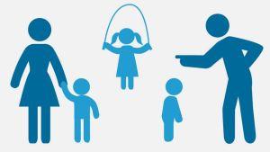 Grafiikka, jossa erilaisia lapsi- ja aikuishahmoja