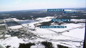 Grafiikka Talvivaaran vuotoalueen sijoittumisesta Vuoksen vesistön latvoihin nähden.