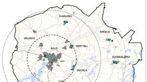 Salon kaupungin julkaisema kartta