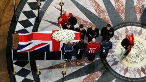 Ison-Britannian entinen pääministeri Margaret Thatcherin hautajaiset St. Paulin katedraalissa Lontoossa 17. huhtikuuta.