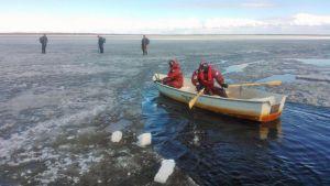 Pintapelastajat lähestyvät veneellä heikoilla jäillä liikkuvia pilkkijöitä Hailuodossa..