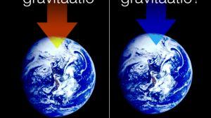 Havainnollistamiskuva gravitaatiosta ja antigravitaatioasta.