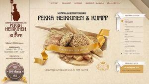 Leipomo- ja kondiittoriliike Pekka Heikkinen & Kumpp. nettisivusta kuva