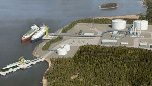 Havainnekuva LNG-terminaalista.