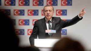 Turkin pääministeri Recep Tayyip Erdogan pitää puhetta Istanbulissa 7. kesäkuuta 2013.