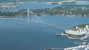 Havainnekuva Kruunuvuoren siltakilpailun voittaneesta Gemma Regalis -sillasta.