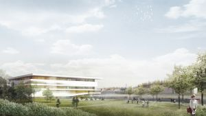 Havainnekuva Mattilanniemen kampukselle rakennettavasta Loop-rakennuksesta.