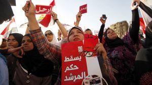 """Opposition edustajilla on käsissään pieniä punaisia lappuja, joissa lukee arabiaksi """"Eroa""""."""