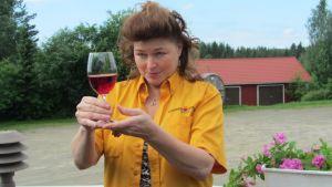 Miltä se näyttää, miltä se tuoksuu, miten se käyttäytyy, kun lasia kallistellaan. Sirpa Villanen tietää, miten viiniä arvioidaan.