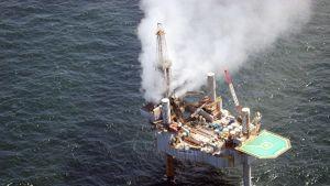 Kaasuvuoto Louisianan edustalla sijaitsevalla porauslautalla Yhdysvalloissa 23. heinäkuuta.
