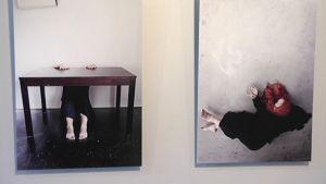 Kaksi valokuvaa näyttelyssä