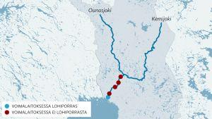 Kemijoessa on viisi voimalaa ennen Ounasjokisuuta