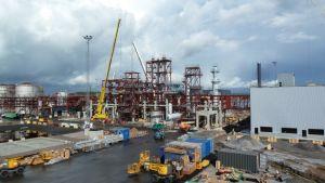 UPM:n uuden biojalostamon työmaa Lappeenrannan Kaukaalla.