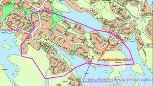 Kartta alueesta jolla vedessä voi olla sakkaa Savolanniemessä ja Pirtissä