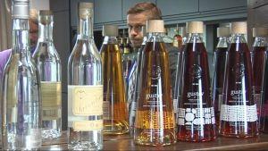 Lignell & Piispasen alkoholijuomia pöydällä, pöydän takana toimitusjohtaja Harri Nylund