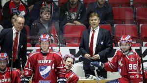 Päävalmentaja Raimo Summanen HIFK:n penkin takana.