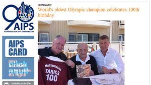 Sandor Tarics on vanhin elossa oleva olympiavoittaja (kesk.)