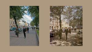 """Rakennusviraston Twitter-kuva sekä Markus Lepon alkuperäinen valokuva """"Esplanadi"""" vierekkäin vaaleanruskealla pohjalla."""