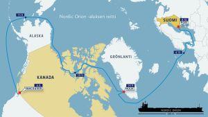 Nordic orion -aluksen reitti Vancouverista Poriin.