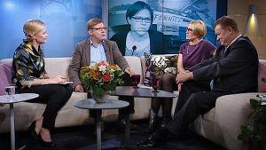 Heidi Hautalasta ja valtionyhtiö Arctic Shippingistä keskustelivat päätoimittajat Reijo Ruokanen (Talouselämä), Päivi Anttikoski (MTV3:n uutiset) sekä Jouni Kemppainen (Yle Uutiset). Äärimmäisenä vasemmalla Heta-Leena Sierilä.