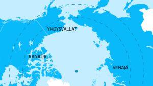 Arktisen neuvoston jäsenmaat.